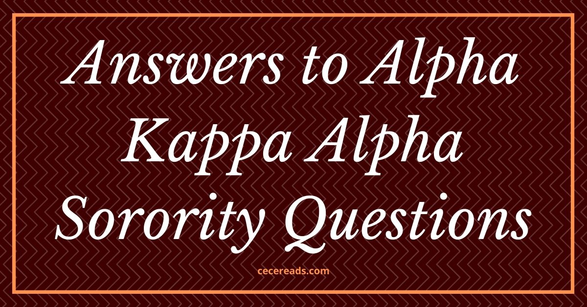 Answers to Alpha Kappa Alpha Sorority Questions