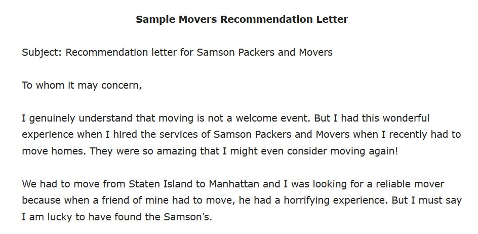 Movers Recommendation Letter