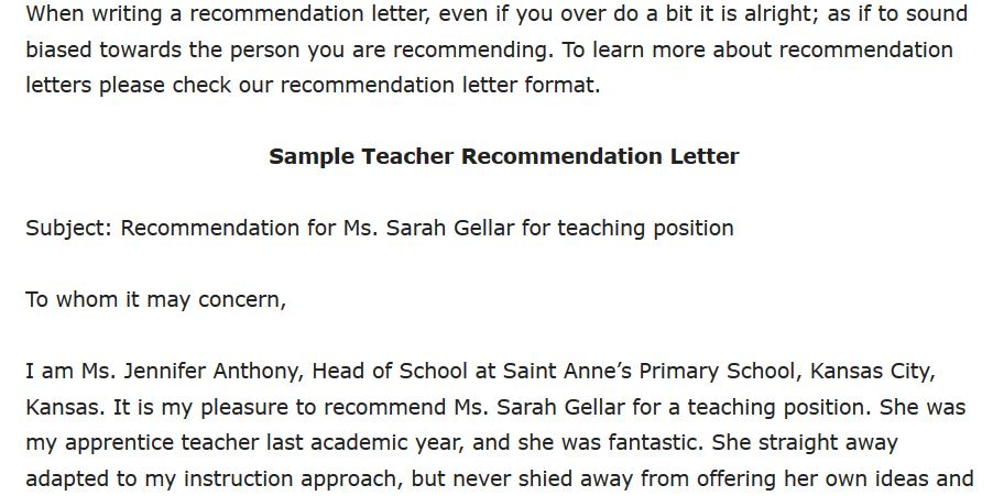 Sample Teacher Recommendation Letter
