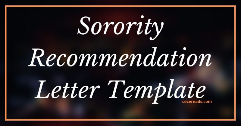 Sorority Recommendation Letter for PNM Template
